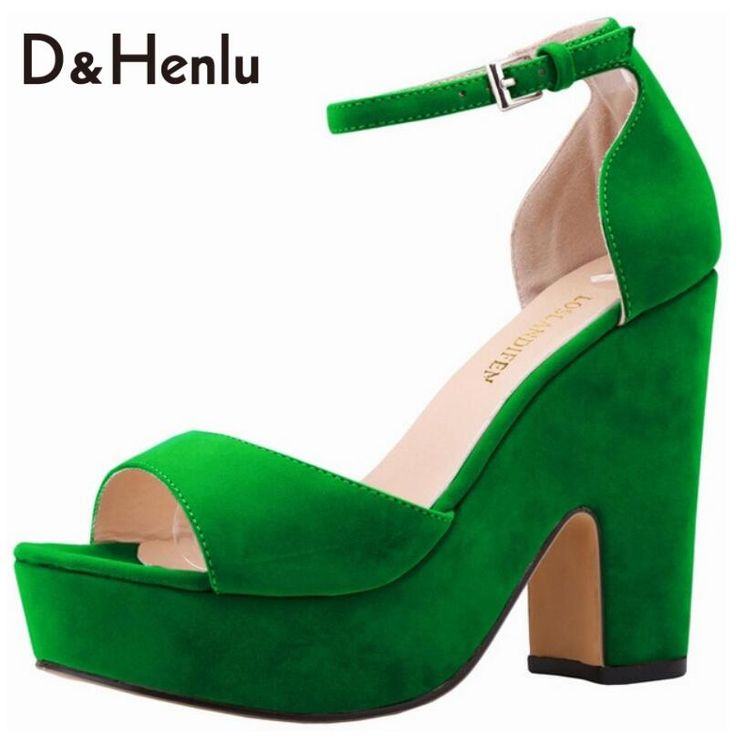 {D&H}Shoes Woman Ankle Strap High Heels Sandals Women Thick Heel Platform Sandals Vegetation Green Shoes sandalia feminina