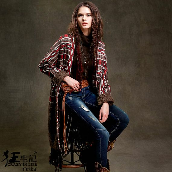 Women's Autumn New Vintage Patchwork Cotton Jacket With Tassel Full Sleeves Bohemian Gypsy Padded Coat