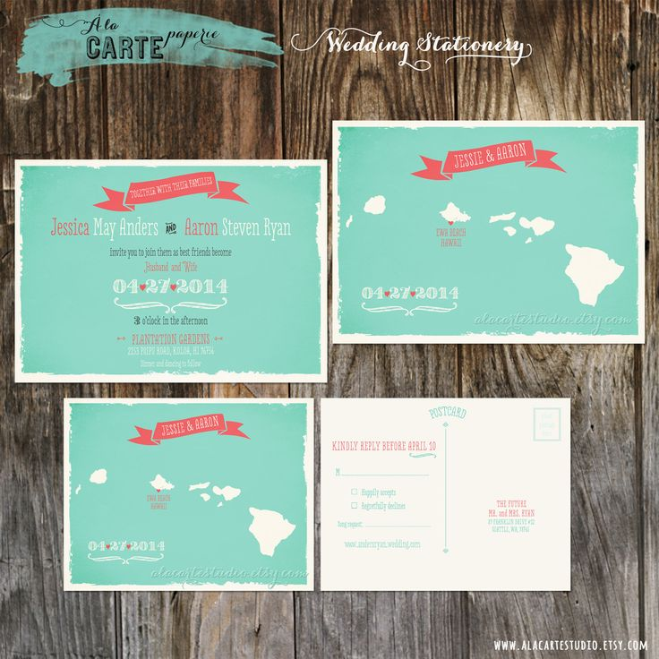 destination wedding invitation rsvp date%0A Items similar to Destination wedding invitation Hawaii islands Wedding  Invitation and RSVP  Map style wedding invitation in blue turquoise teal  aqua colors
