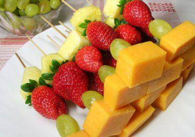 fruit and cheese kabob