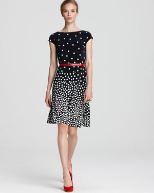 Anne Klein Dress Graduated Polka Dot Swing Dress