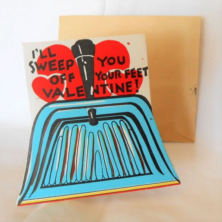 Vintage VALENTINE Greeting Card Dust Pan Sweep You Off Your Feet
