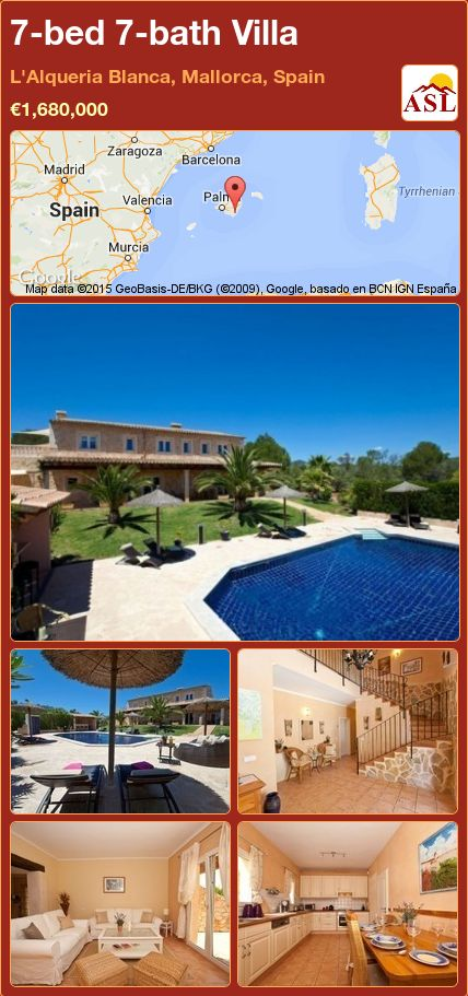 7-bed 7-bath Villa in L'Alqueria Blanca, Mallorca, Spain ►€1,680,000 #PropertyForSaleInSpain