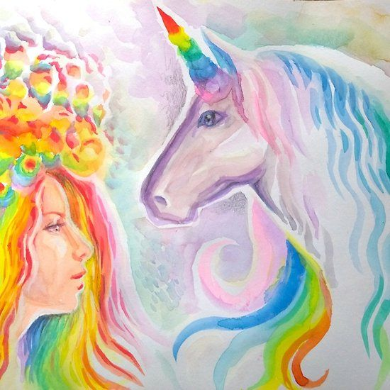 Rainbow haired girl and unicorn