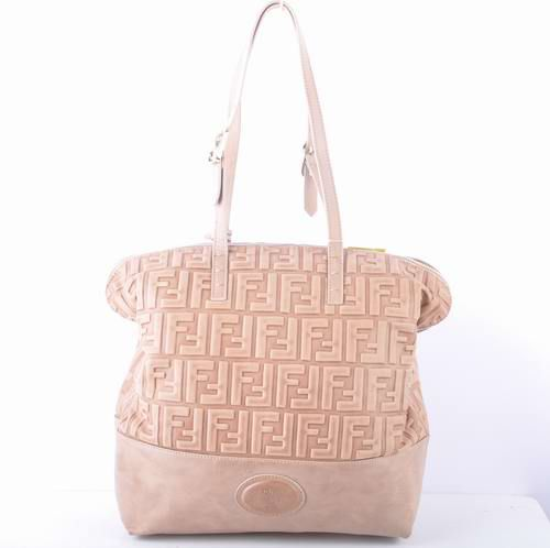 Fendi Apricot Embossed Leather Shopping Tote Bag             $209.00
