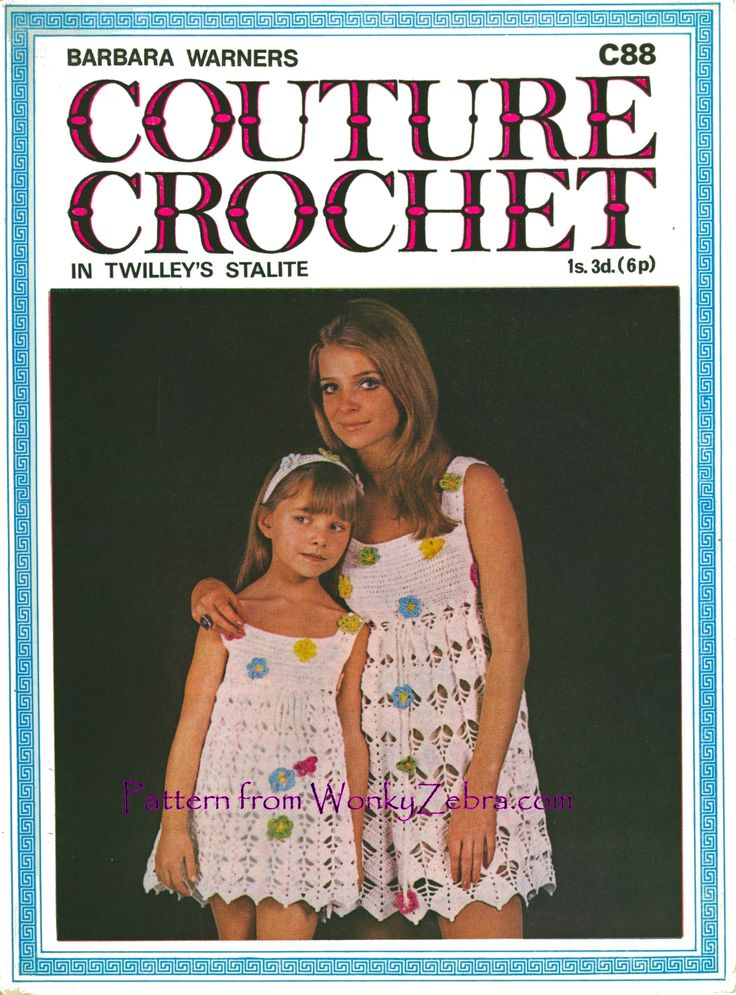 WZ002 Crochet Mother and Daughter dress patterns from WonkyZebra.com pretty leaf shape lace and flower motif to scatter on dress and headband. [Barbara Warner C88] A similar lace in WZ031.