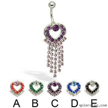 Hinged heart with dangles belly button ring http://qpiercing.com/belly-button-rings/hinged-heart-with-dangles-belly-button-ring-10439.html