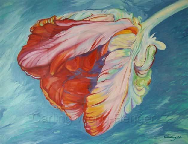 Queen of Hearts Parrot Tulip - Oil Painting    http//carlingwongrenger.com