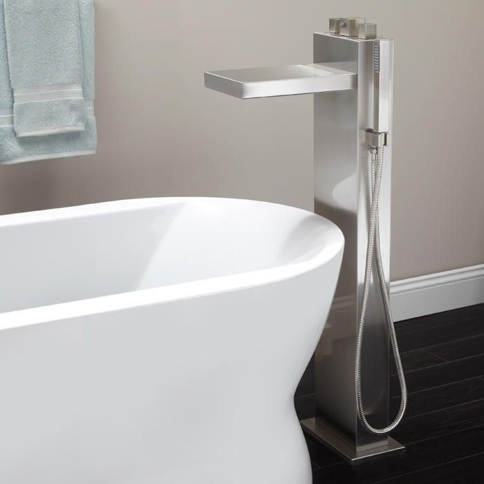 Grotto Freestanding Thermostatic Waterfall Tub Faucet