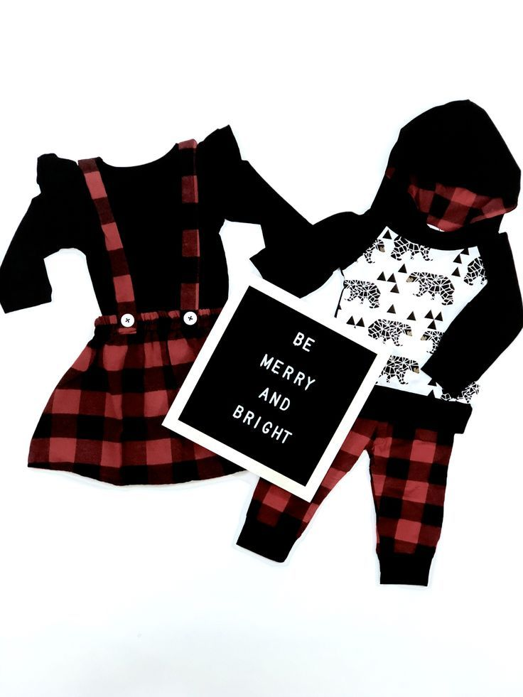 Matching sibling outfits in red and black plaid. Perfect Christmas outfits  for siblings, - Matching Sibling Outfits In Red And Black Plaid. Perfect Christmas