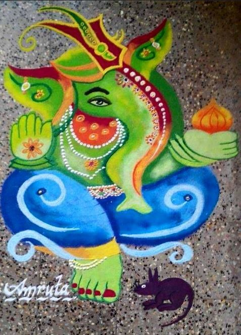 Discover inspirational Ganesh rangoli designs for competition for school, college, office and society. Make Ganesh rangoli designs for competion for Diwali.