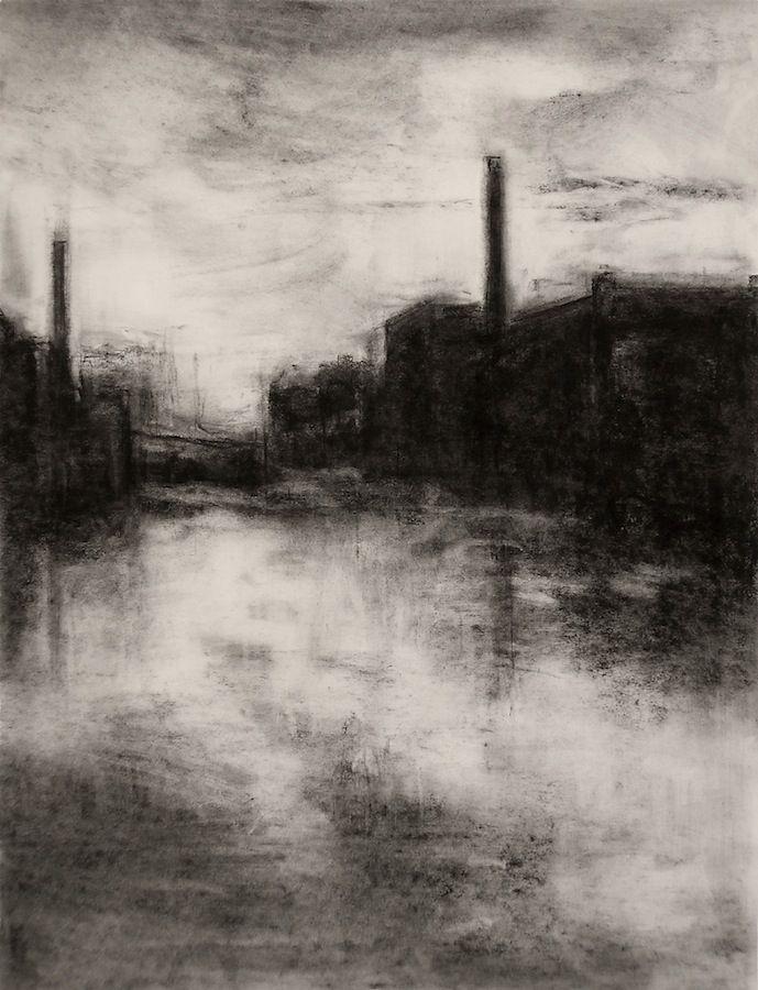"Landscape Charcoal Drawings | Charcoal Landscape VI (Charcoal on paper, 18"" X 24"") – 2009"