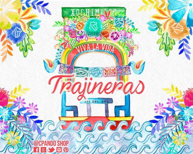 Trajineras Xochimilco Cinco De Mayo Mexican Fiesta Watercolor