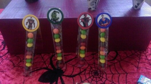 Lolly or loot bag ideas for super hero birthday party