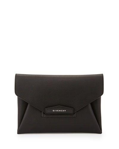 I HAVE THIS NOW! <3   Antigona Leather Evening Envelope Clutch Bag, Black NMS15_V299U