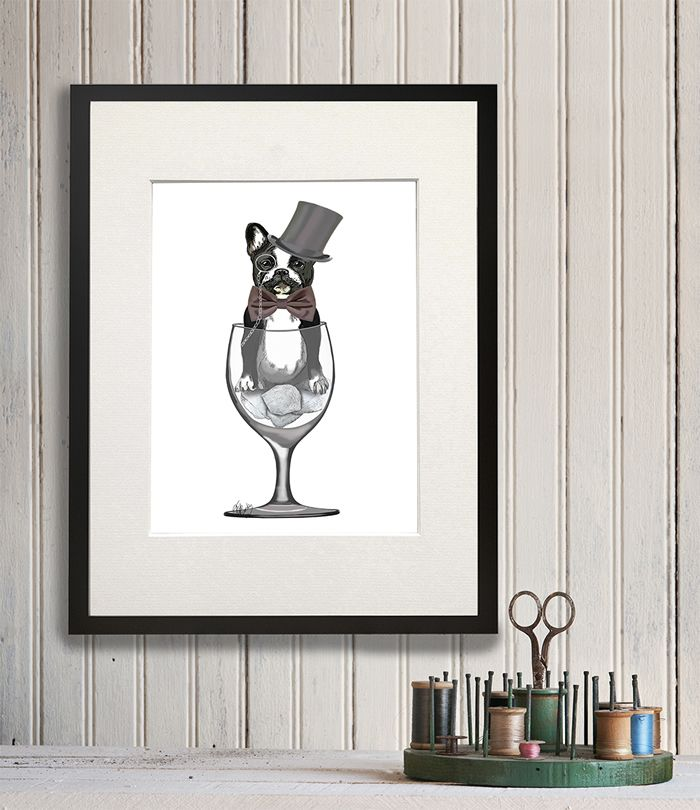 French Bulldog In Wine Glass In 2019 Traditional Picture Frames