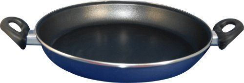 Magefesa Classic Danubio Enamel On Steel 11 Inch Paella Pan by Magefesa. $25.99. Bakelite cool-touch handles and knobs.. Diswasher proof. Dishwasher safe.. Heat resistant handles 572F.. Elegant stainless steel finish.. Premium quality 0.06 inches porcelain/carbon enamelled steel. Double layered enamel exterior. Triple layered enamel interior. Diffused base.  Available in 2 colours: blue and red gloss. Heavyweight material.. Save 24% Off!