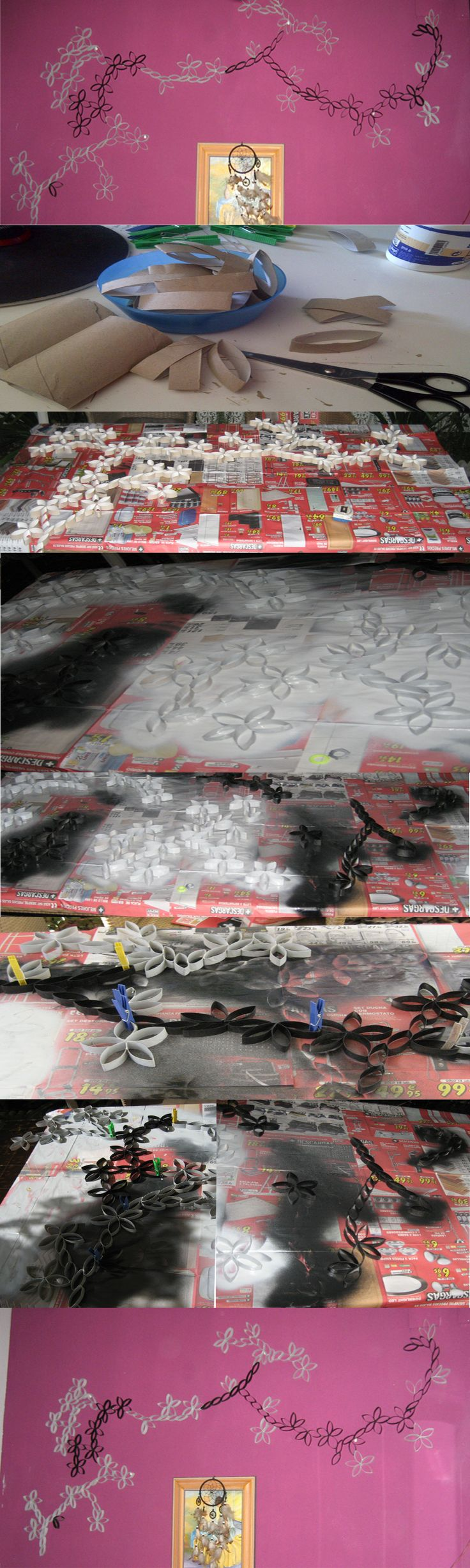 Decoración con rollos de papel higiénico formando un mural de flores, pintado con spray.  Decorating with toilet paper rolls forming a flower mural, painted with spray.
