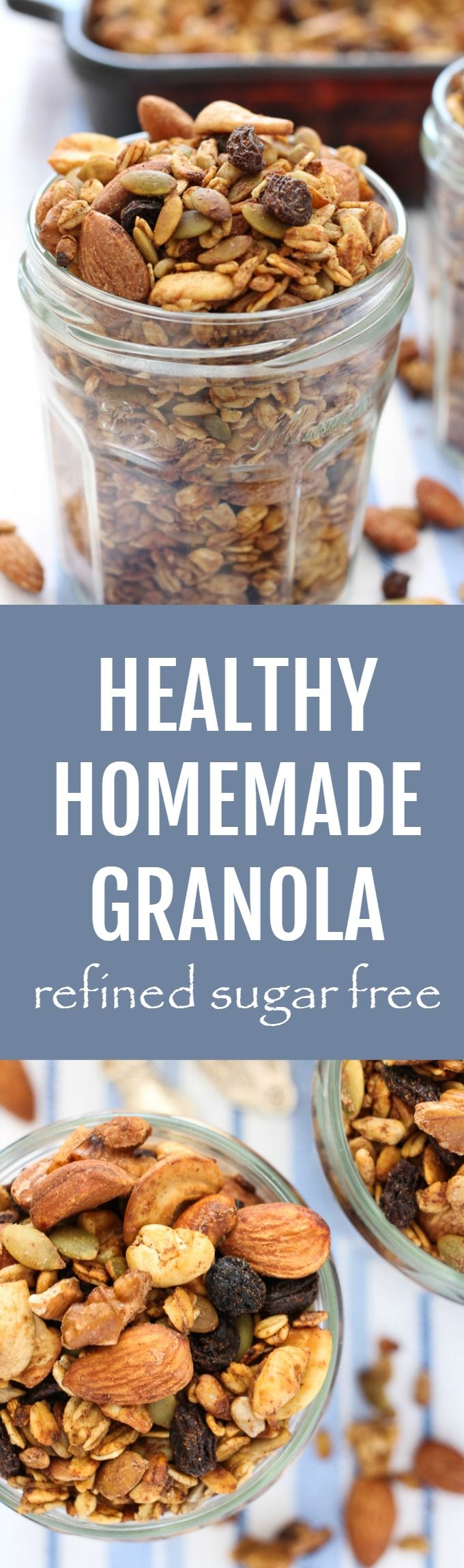 This healthy homemade granola is refined sugar free. It's made with nuts, seeds, oats, and coconut oil and is naturally sweetened with applesauce and raisins.