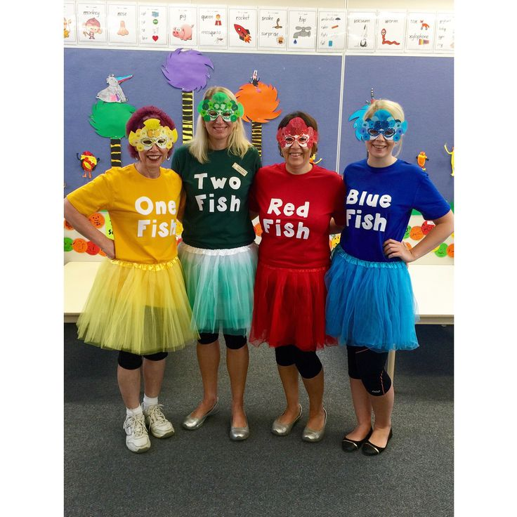 Dr Seuss theme book week costumes! One fish, two fish, red fish, blue fish.