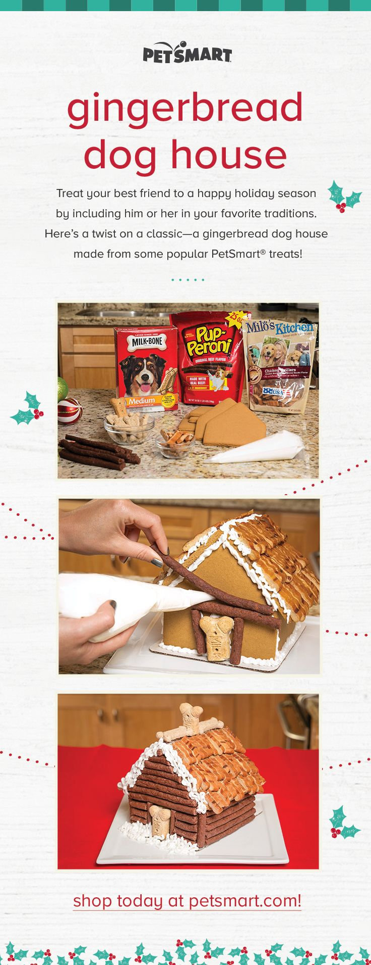 Treat your best friend to a happy holiday season by including him or her in your favorite traditions. Here's a twist on a classic—a gingerbread dog house made from some popular PetSmart® treats!