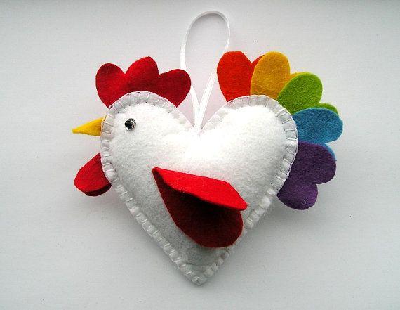 Felt Ornaments Funny Heart Chicken Felt Bird  Easter by feltgofen