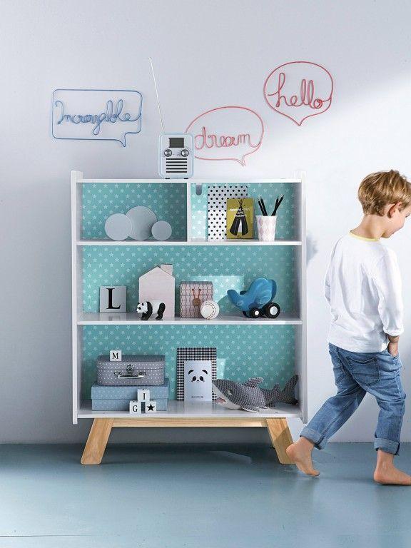 kids bedroom ideas- love the wallpaper shelf!