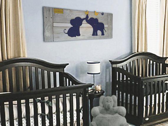 Elephant Twin Nursery Wall Art Navy - Baby room decor - custom name tags - Navy, White, yellow - Reclaimed wood - Made in Austin, TX, USA