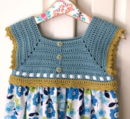 Toddler Sundress - Flower Power and Sweetness Crochet Bodice Sundress - Size 3T (SUND114). $52.00, via Etsy.