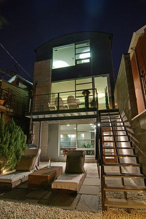 Chicago home, backyard with open riser staircase