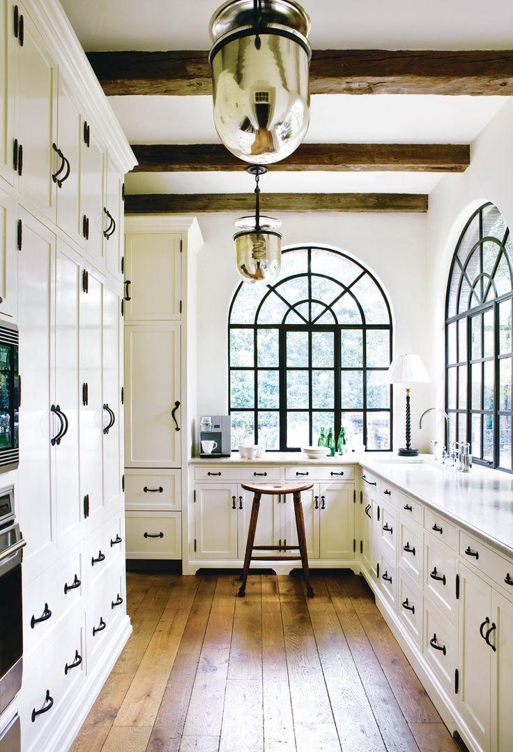 Kitchen: Lights, Black Window, Mercury Glasses, Floors, Expo Beams, Spanish Style, White Cabinets, Wood Beams, White Kitchens