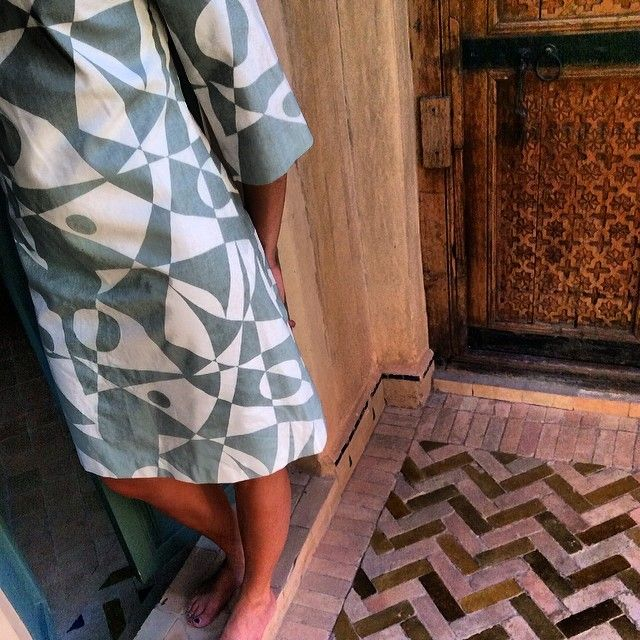 Regatta™ patterned dress in vintage green/white cotton with linnen structure - Tailored by FREEMOVER.se, Design: Maria Lovisa Dahlberg