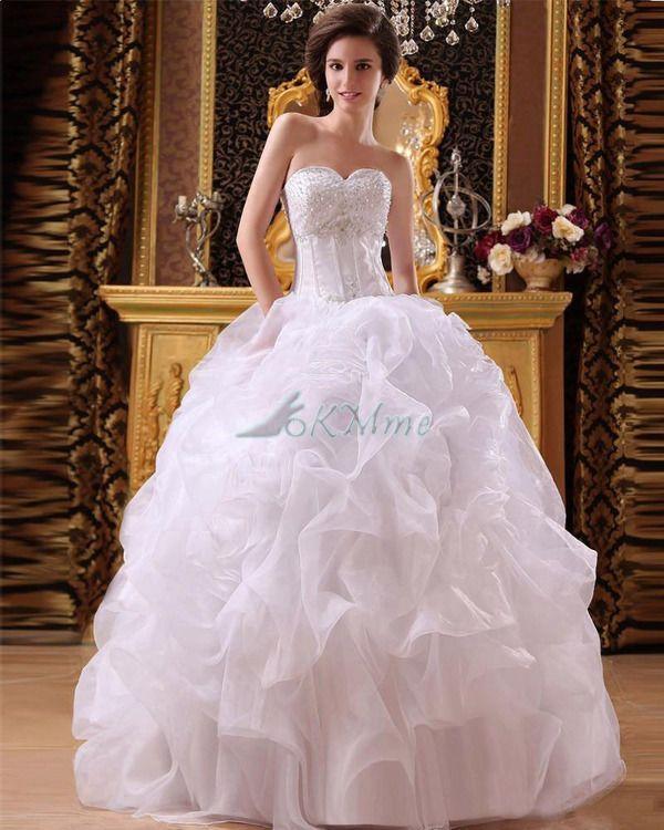 Robe de Mariée Romantique Ruchés Plongeants Avec Perle en Satin Élastique de Traîne Mi-longue