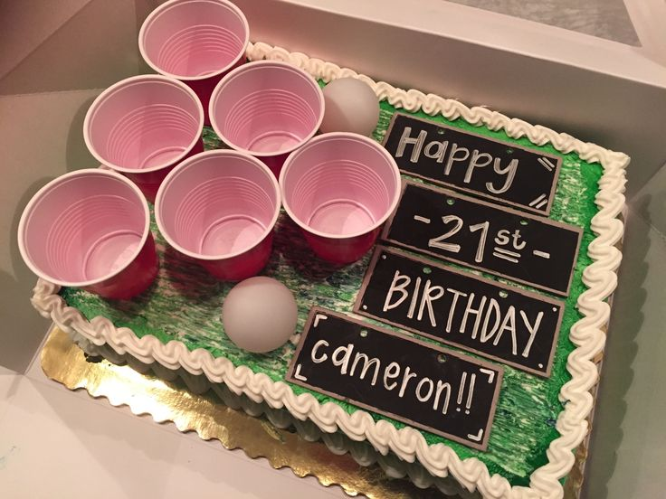 21st birthday cake. beer pong themed, college cake