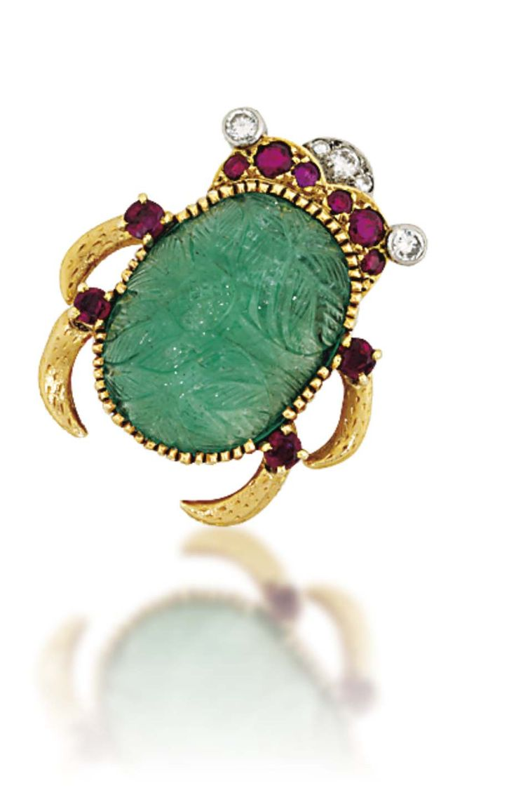 diamond cartier and turquoise foliate eco christie brooch s christies online jewels