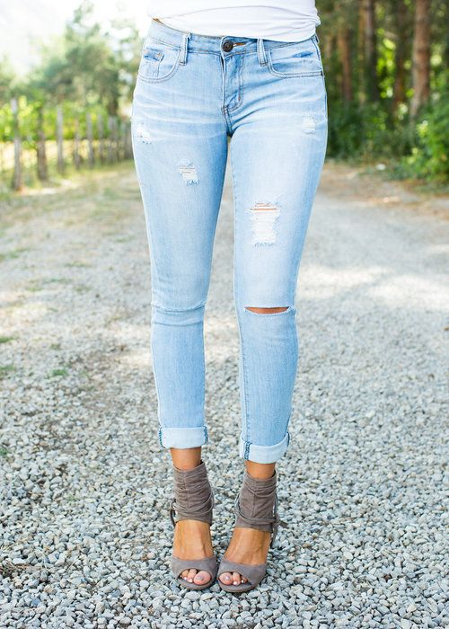 Classically Distressed Light Denim Jeans CLEARANCE - Modern Vintage Boutique