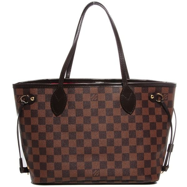 LOUIS VUITTON Damier Ebene Neverfull PM ❤ liked on Polyvore featuring bags, handbags, stripe handbag, striped purse, louis vuitton purses, striped bag and stripe purse