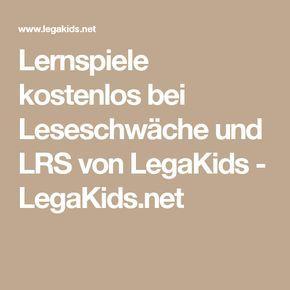 Lernspiele kostenlos bei Leseschwäche und LRS von LegaKids - LegaKids.net