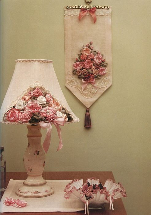 Ribbon embroidered light shade.