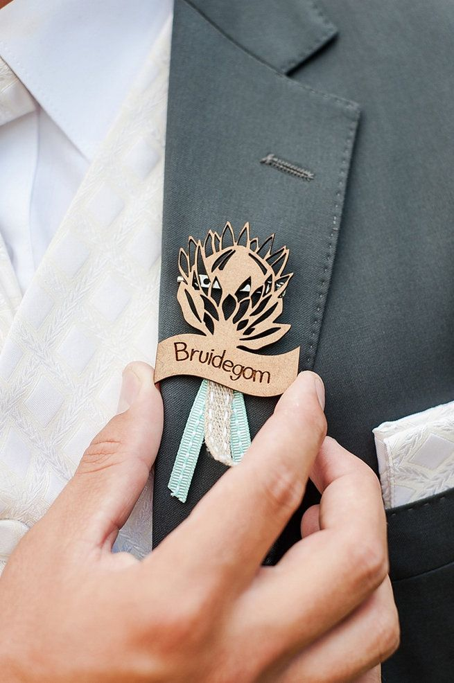 Bruidegom laser cut wood Protea pin. Coral and Green South African Wedding // D'amor Photography
