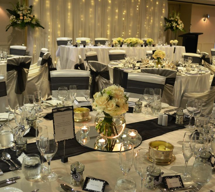 Black and white wedding reception. Styled by Greenstone Events.