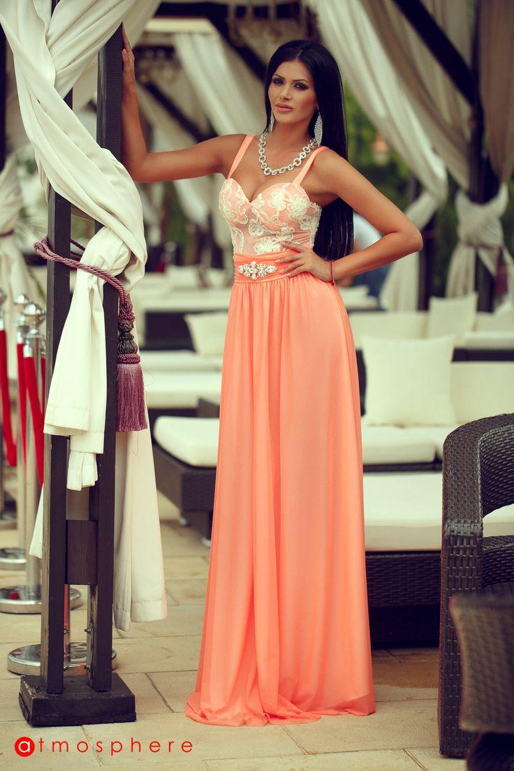 Rochie lunga din voal si dantela portocalie R 1159 - Atmosphere Fashion