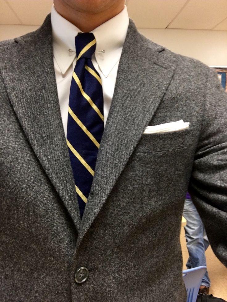 Jake Navy Blazer — Collar pin. Repp tie. 3-roll-2 sack.