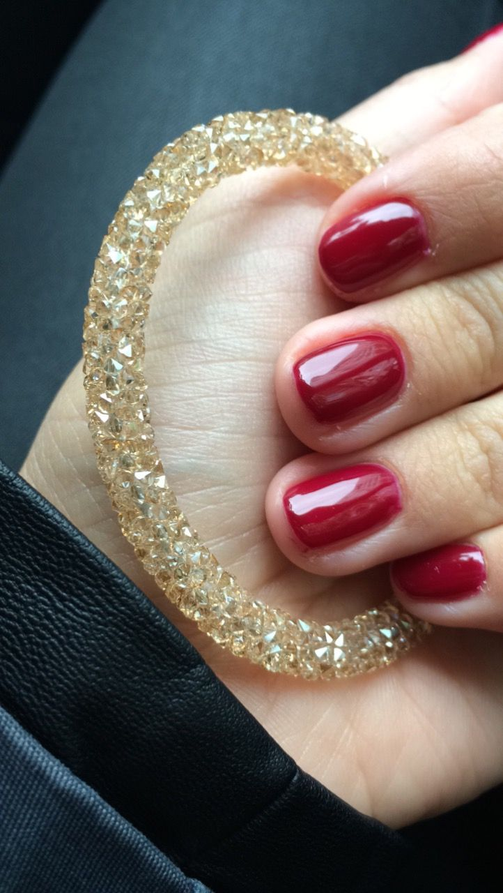 #winter #claret #gold #swarovski #nails #bracelet #lilinails