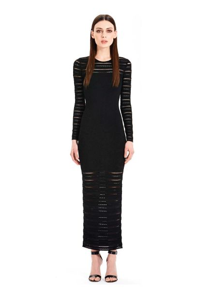 RONNY KOBO Karina Dress  Long black dress with sleeves A slinky, textured Ronny Kobo maxi dress with a slim column skirt. An inverted basque seam defines the empire waist. Pointelle detailing at yoke and long sleeves. Crew neckline. Unlined