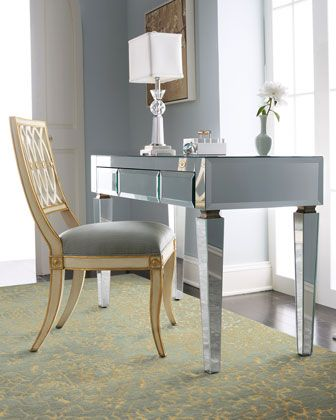Mirrored Desk & Pillar Chair at Horchow.  #HORCHOW.  WOW!