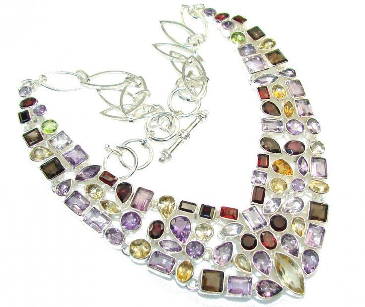 Multi Gemstone Faceted Silver Necklace Wholesaler India