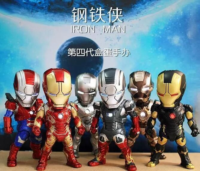 6pcs/sets Egg Attack Iron Man Light & Action Function Iron Man MK42 43 22 24  #Unbranded