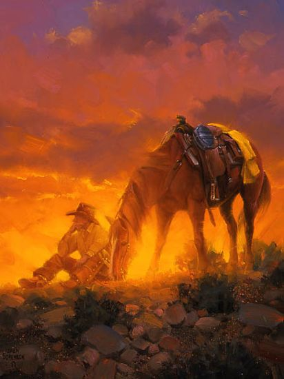 """The Thinker"" Horse and Cowboy at sunset oil painting by Jack Sorenson"