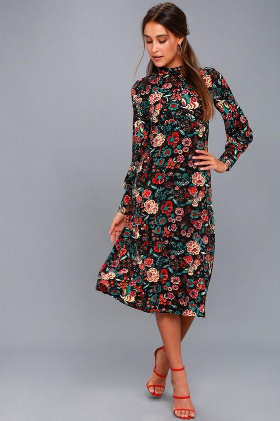 Retro Ready Black Floral Print Long Sleeve Midi Dress In